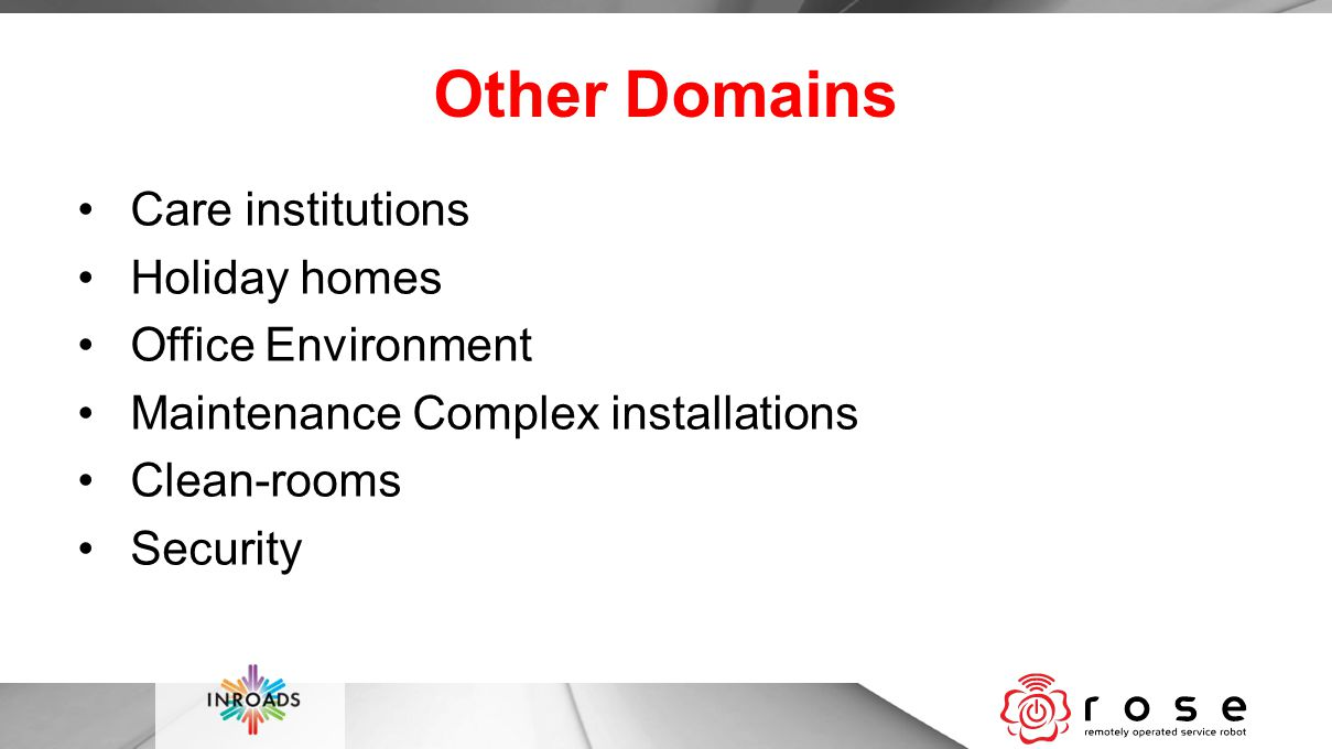 Other Domains Care institutions Holiday homes Office Environment Maintenance Complex installations Clean-rooms Security
