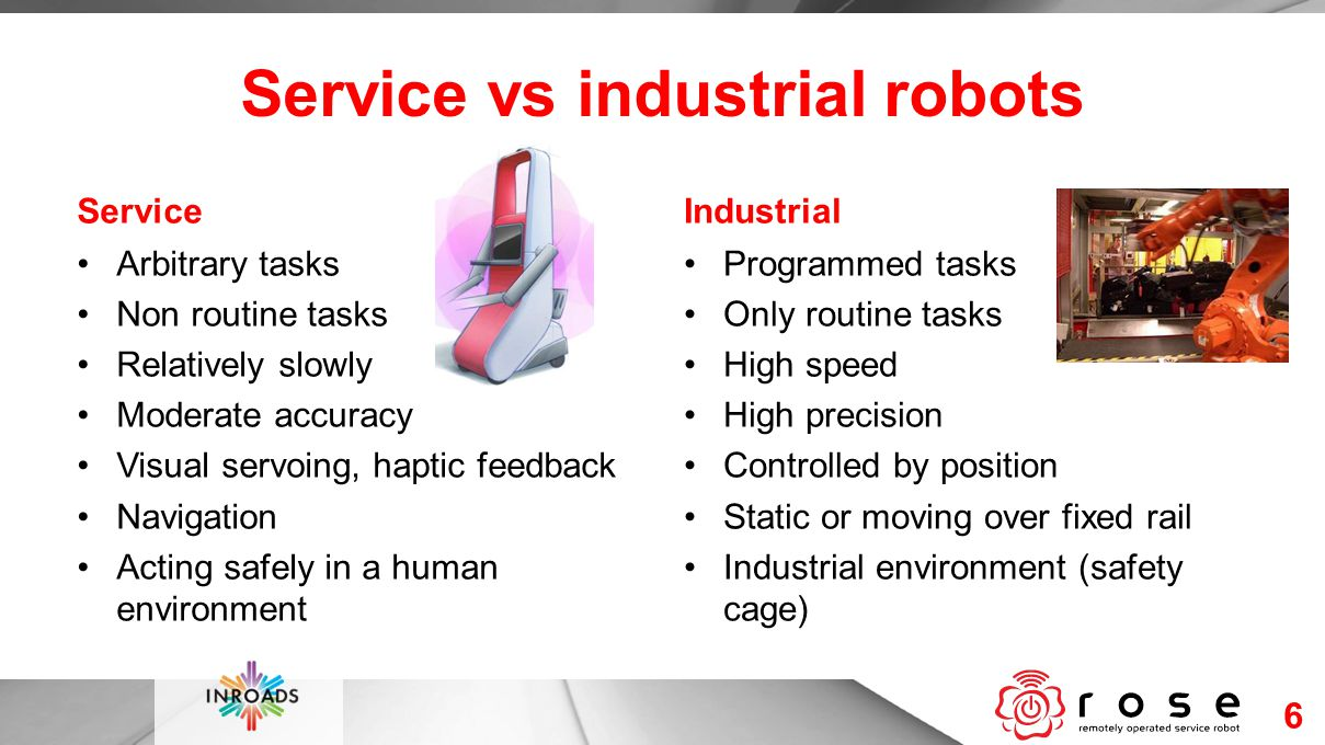 Service vs industrial robots Service Arbitrary tasks Non routine tasks Relatively slowly Moderate accuracy Visual servoing, haptic feedback Navigation Acting safely in a human environment Industrial Programmed tasks Only routine tasks High speed High precision Controlled by position Static or moving over fixed rail Industrial environment (safety cage) 6