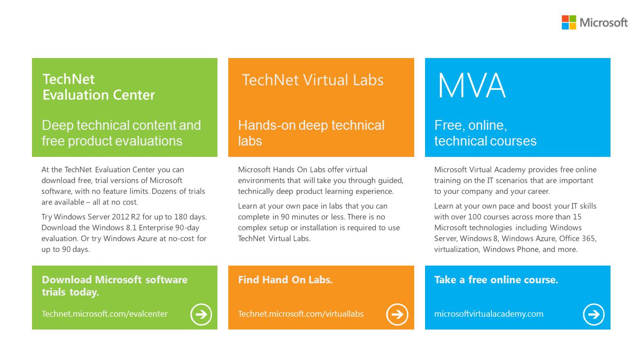 Deep technical content and free product evaluations Hands-on deep technical labs Free, online, technical courses Download Microsoft software trials today.