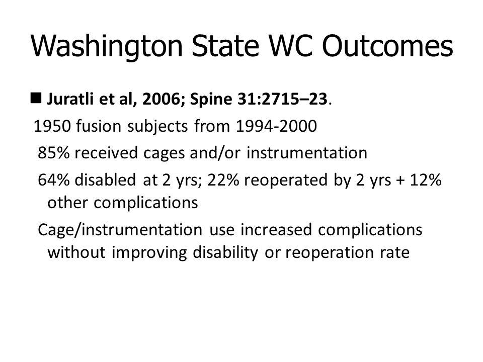 Washington State WC Outcomes Juratli et al, 2006; Spine 31:2715–23.