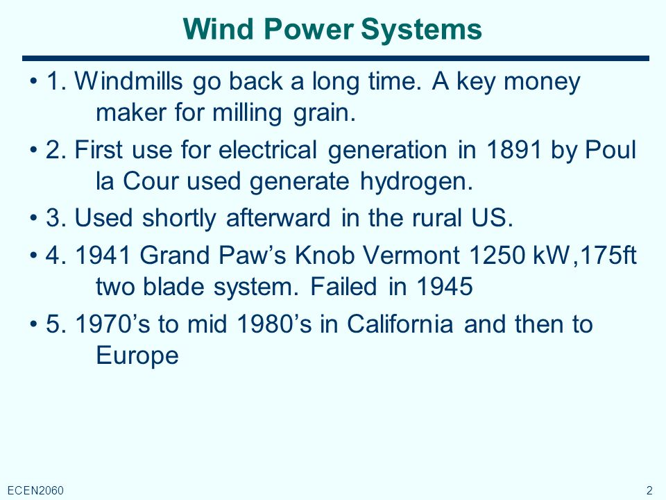 Rapid Grow of Wind Capacity 3 ECEN2060