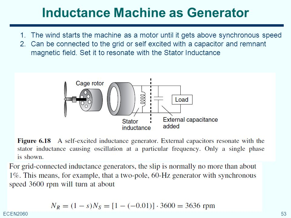 Inductance Machine as Generator 53 ECEN2060 1.The wind starts the machine as a motor until it gets above synchronous speed 2.Can be connected to the grid or self excited with a capacitor and remnant magnetic field.