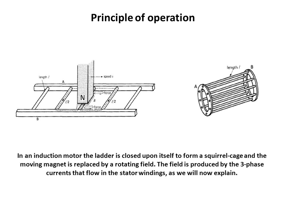 Principle of operation In an induction motor the ladder is closed upon itself to form a squirrel-cage and the moving magnet is replaced by a rotating