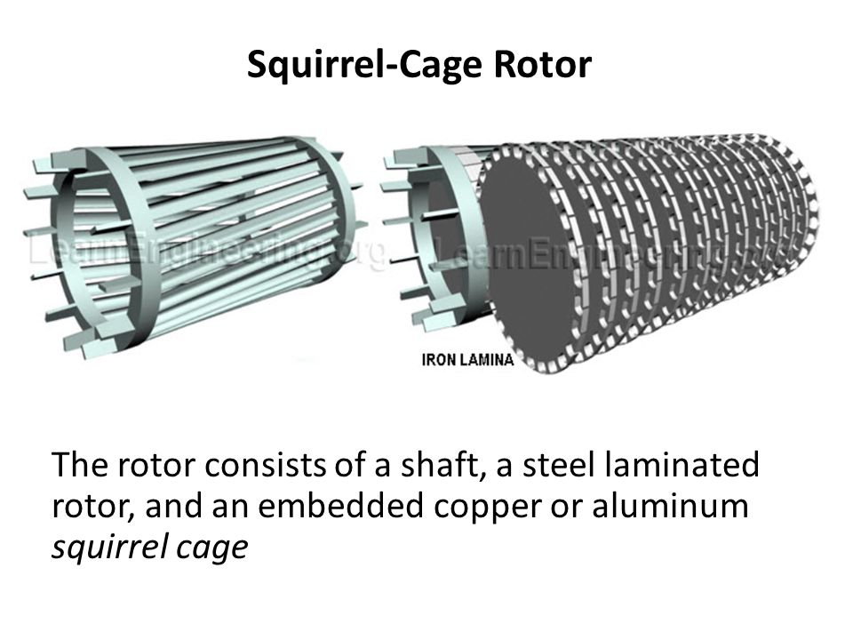 Squirrel-Cage Rotor The rotor consists of a shaft, a steel laminated rotor, and an embedded copper or aluminum squirrel cage