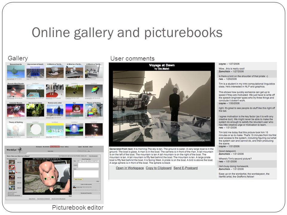 Online gallery and picturebooks 18 Gallery User comments Picturebook editor