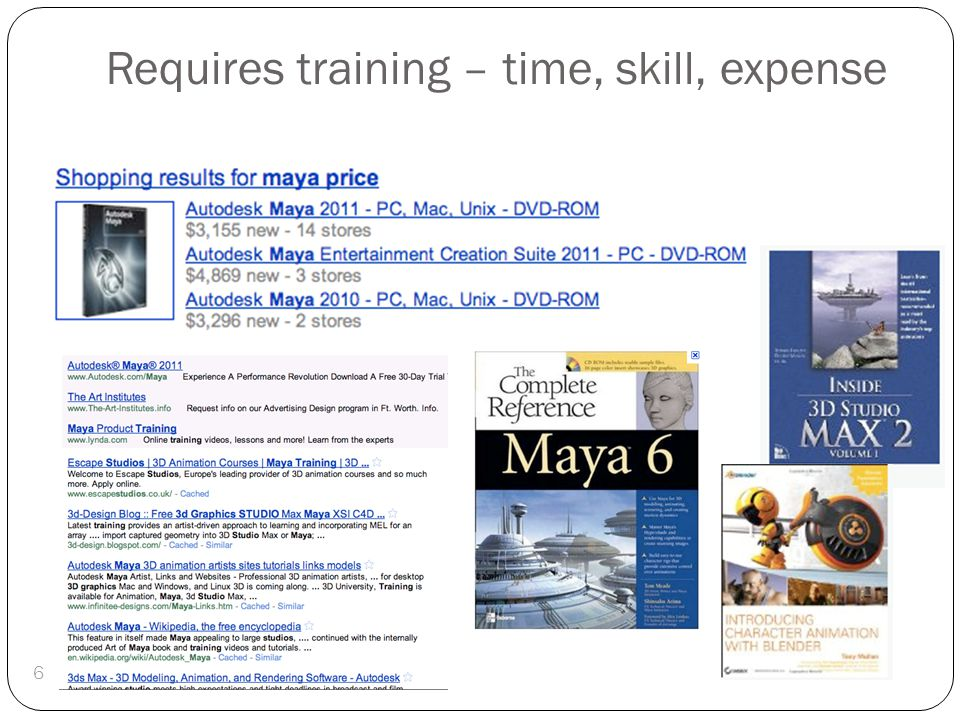 Requires training – time, skill, expense 6