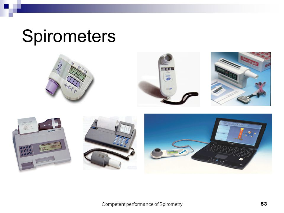Competent performance of Spirometry53 Spirometers