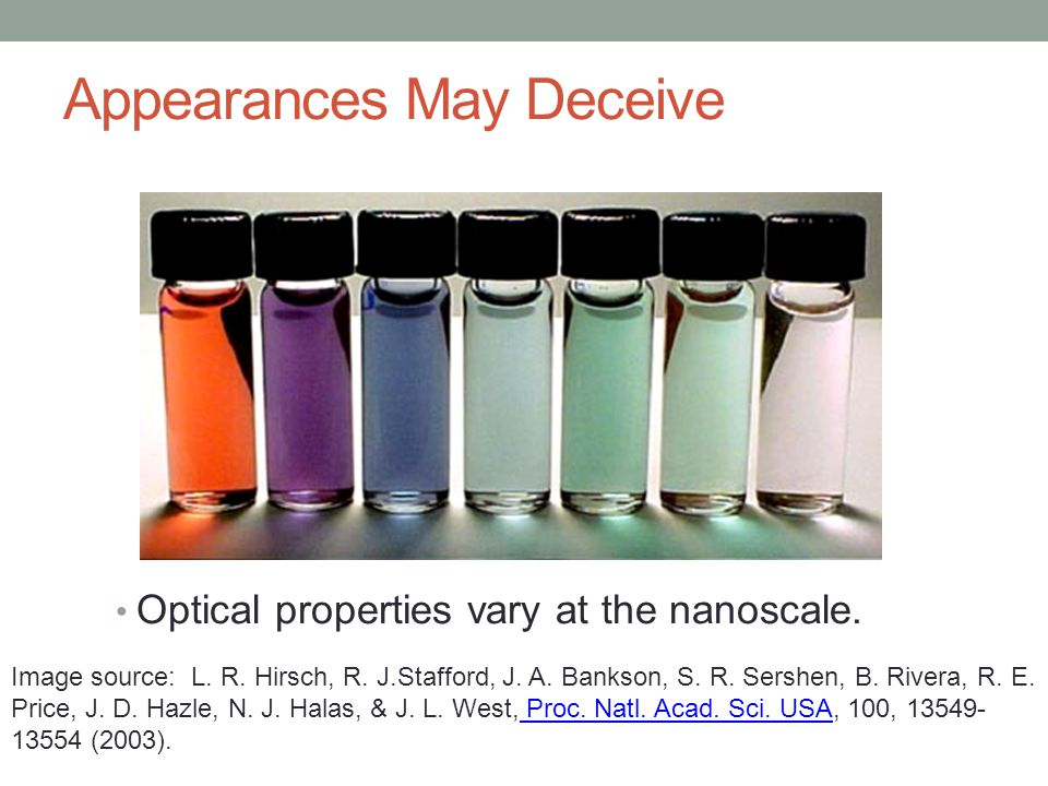 Appearances May Deceive Optical properties vary at the nanoscale.
