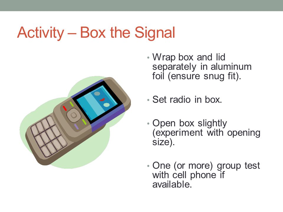 Activity – Box the Signal Wrap box and lid separately in aluminum foil (ensure snug fit).