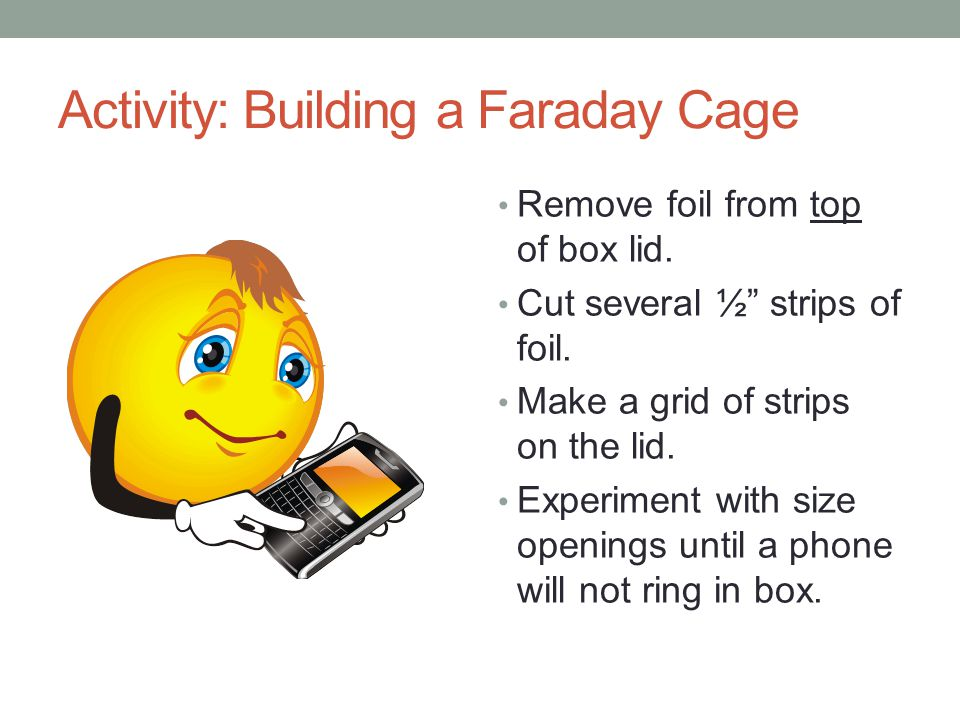 Activity: Building a Faraday Cage Remove foil from top of box lid.