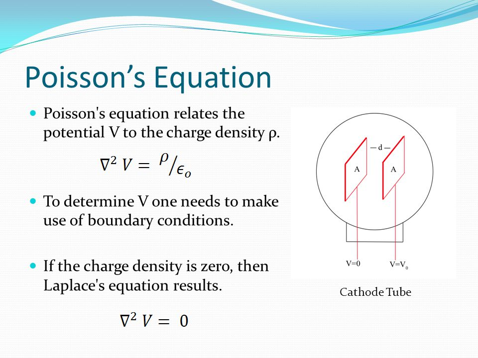 Poisson's Equation Poisson's equation relates the potential V to the charge density ρ. To determine V one needs to make use of boundary conditions. If