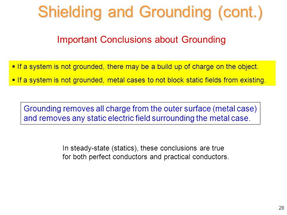 Important Conclusions about Grounding Shielding and Grounding (cont.) 28  If a system is not grounded, there may be a build up of charge on the objec