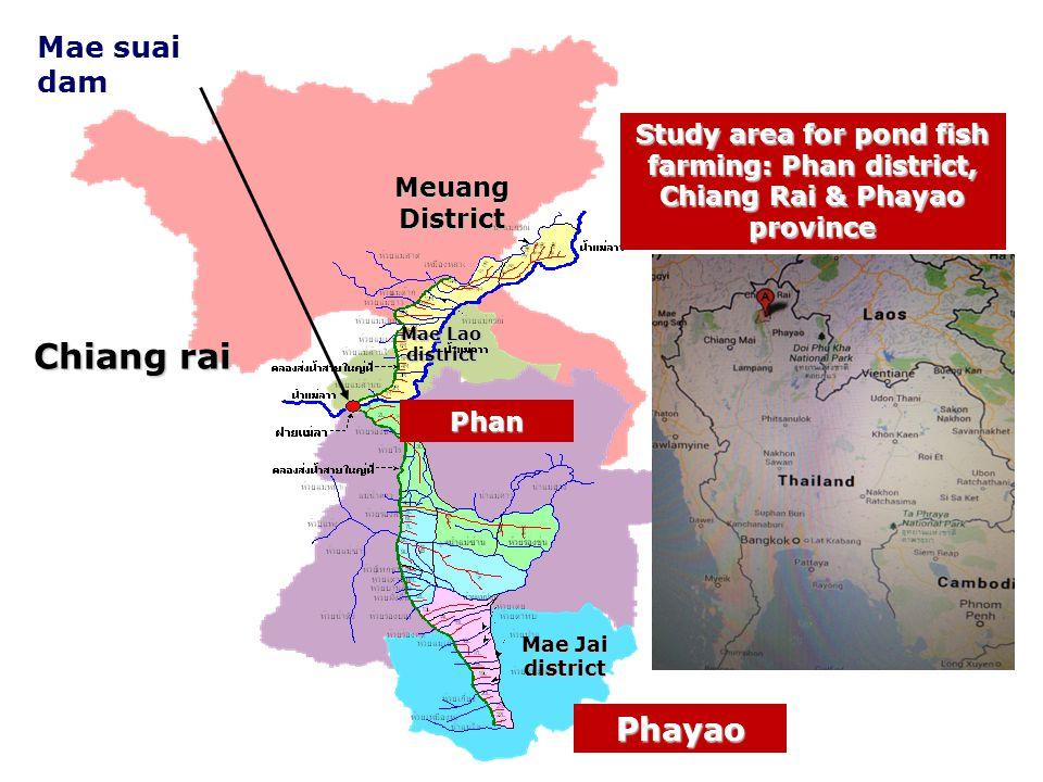 Meuang District Mae Lao district Phan Mae Jai district Chiang rai Phayao Mae suai dam Study area for pond fish farming: Phan district, Chiang Rai & Phayao province