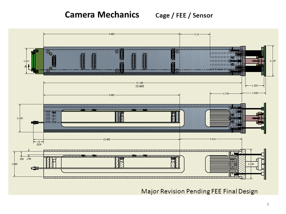 4 Major Revision Pending FEE Final Design Camera Mechanics Cage / FEE / Sensor