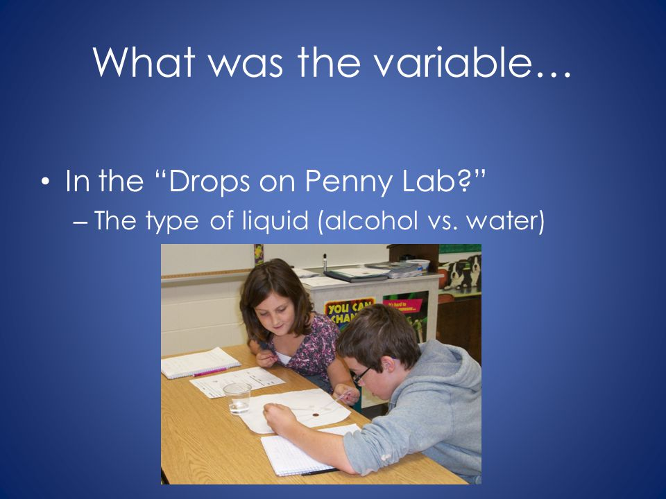 "What was the variable… In the ""Drops on Penny Lab?"" – The type of liquid (alcohol vs. water)"