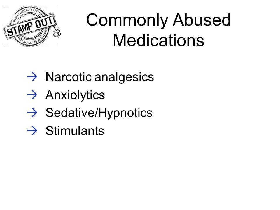 Commonly Abused Medications  Narcotic analgesics  Anxiolytics  Sedative/Hypnotics  Stimulants