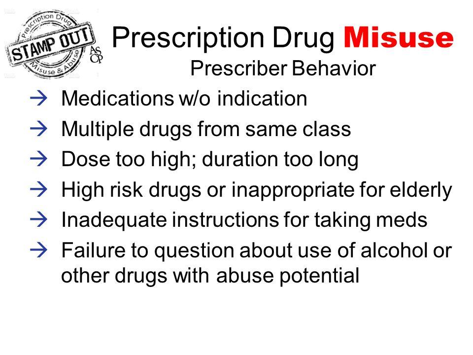 Prescription Drug Misuse is UNSAFE  Treatment failure  Increased health resource utilization –ER visits –Hospitalizations It might lead to prescription drug ABUSE