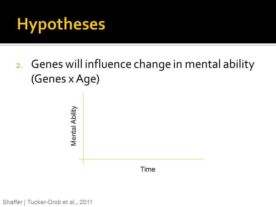 2. Genes will influence change in mental ability (Genes x Age) Shaffer | Tucker-Drob et al., 2011 Time Mental Ability