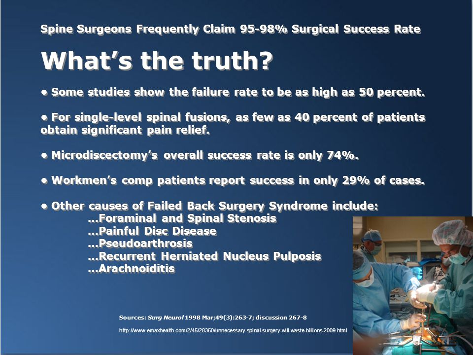 Spine Surgeons Frequently Claim 95-98% Surgical Success Rate What's the truth.