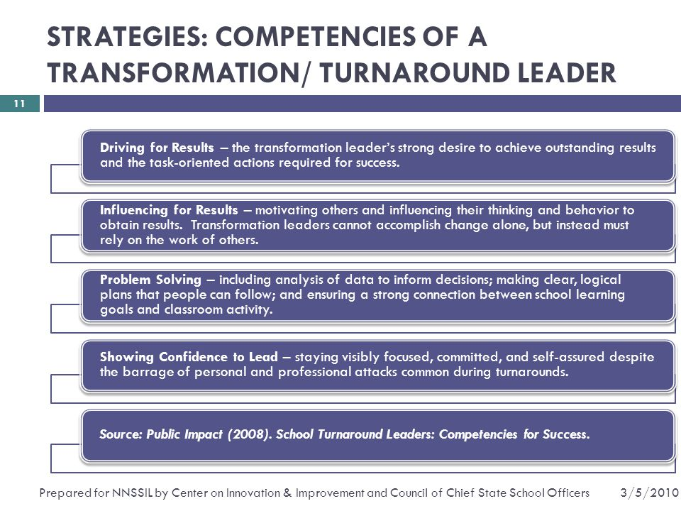 STRATEGIES: COMPETENCIES OF A TRANSFORMATION/ TURNAROUND LEADER Driving for Results – the transformation leader's strong desire to achieve outstanding