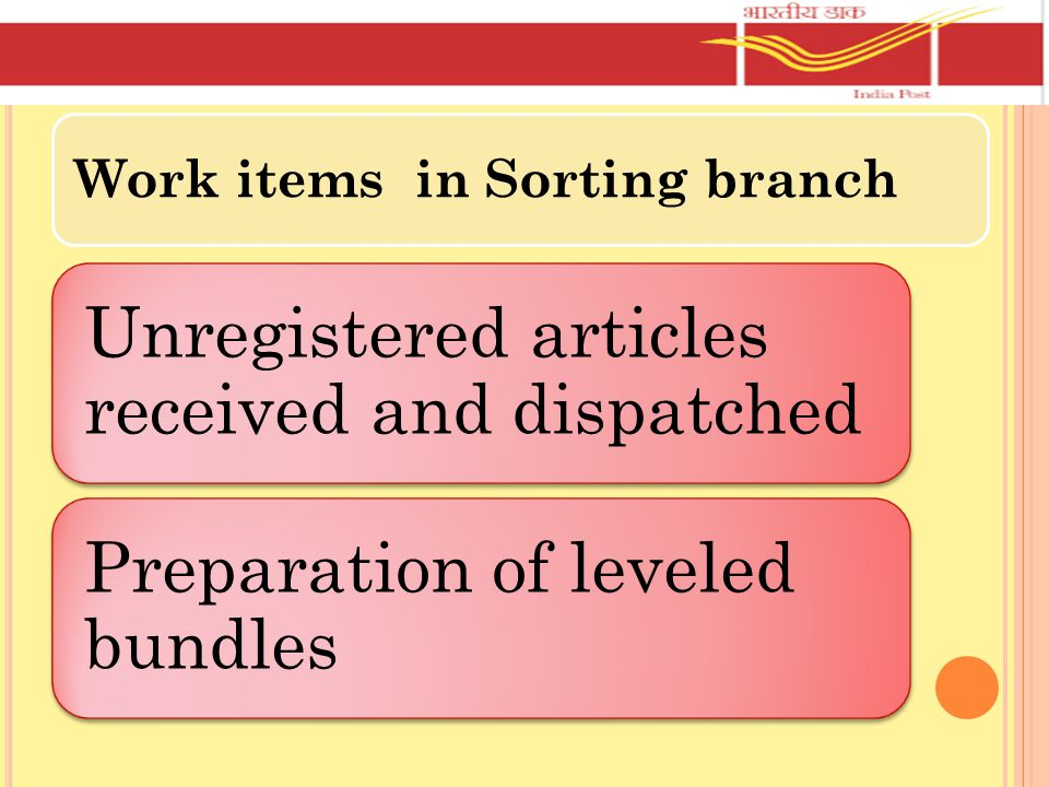 WORK ITEMS IN REGISTRATION DEPARTMENT Receipt and dispatch of Regd.