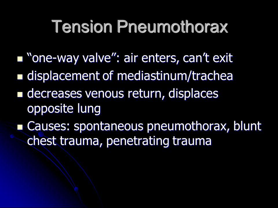 "Tension Pneumothorax ""one-way valve"": air enters, can't exit ""one-way valve"": air enters, can't exit displacement of mediastinum/trachea displacement"