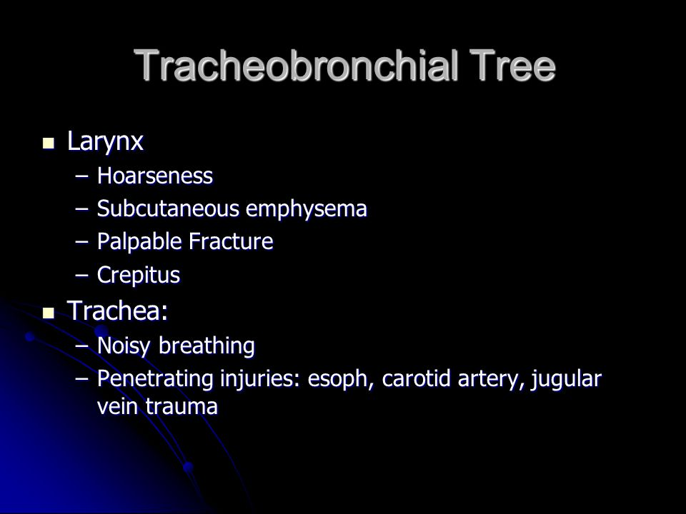 Tracheobronchial Tree Larynx Larynx –Hoarseness –Subcutaneous emphysema –Palpable Fracture –Crepitus Trachea: Trachea: –Noisy breathing –Penetrating i