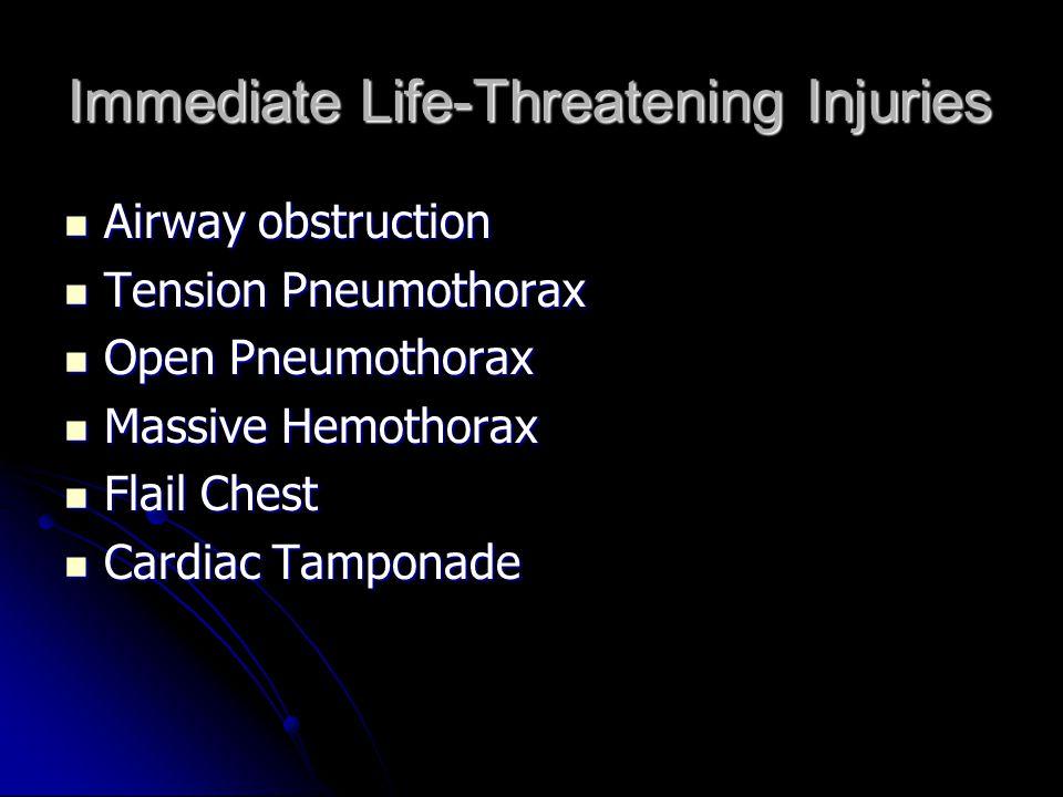 Immediate Life-Threatening Injuries Airway obstruction Airway obstruction Tension Pneumothorax Tension Pneumothorax Open Pneumothorax Open Pneumothora