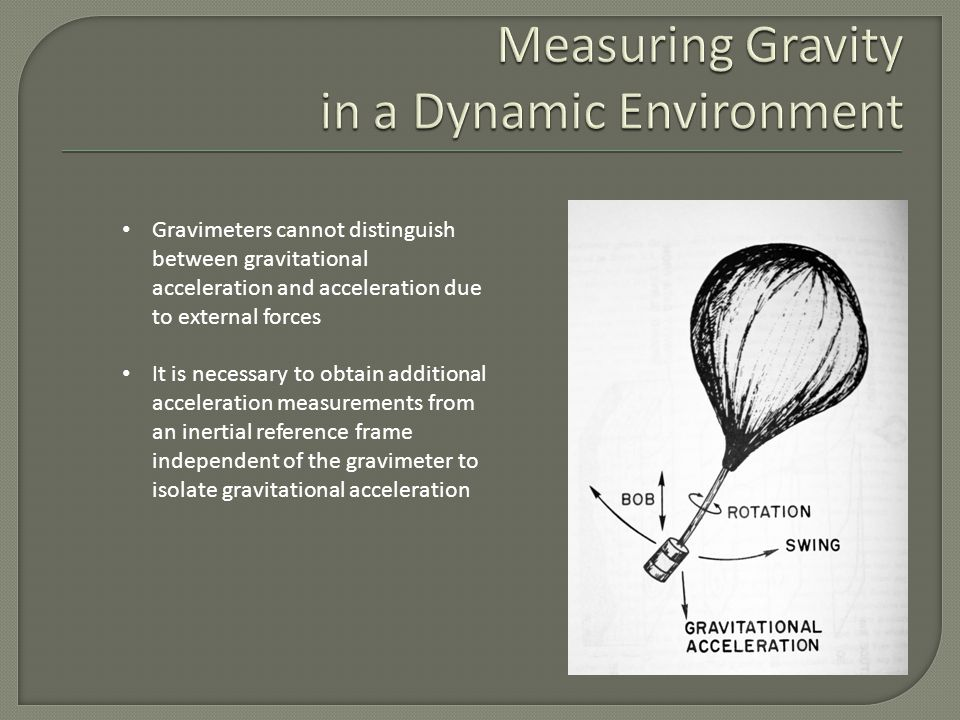 Gravimeters cannot distinguish between gravitational acceleration and acceleration due to external forces It is necessary to obtain additional acceleration measurements from an inertial reference frame independent of the gravimeter to isolate gravitational acceleration