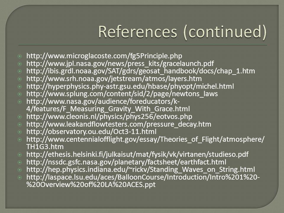  http://www.microglacoste.com/fg5Principle.php  http://www.jpl.nasa.gov/news/press_kits/gracelaunch.pdf  http://ibis.grdl.noaa.gov/SAT/gdrs/geosat_handbook/docs/chap_1.htm  http://www.srh.noaa.gov/jetstream/atmos/layers.htm  http://hyperphysics.phy-astr.gsu.edu/hbase/phyopt/michel.html  http://www.splung.com/content/sid/2/page/newtons_laws  http://www.nasa.gov/audience/foreducators/k- 4/features/F_Measuring_Gravity_With_Grace.html  http://www.cleonis.nl/physics/phys256/eotvos.php  http://www.leakandflowtesters.com/pressure_decay.htm  http://observatory.ou.edu/Oct3-11.html  http://www.centennialofflight.gov/essay/Theories_of_Flight/atmosphere/ TH1G3.htm  http://ethesis.helsinki.fi/julkaisut/mat/fysik/vk/virtanen/studieso.pdf  http://nssdc.gsfc.nasa.gov/planetary/factsheet/earthfact.html  http://hep.physics.indiana.edu/~rickv/Standing_Waves_on_String.html  http://laspace.lsu.edu/aces/BalloonCourse/Introduction/Intro%201%20- %20Overview%20of%20LA%20ACES.ppt