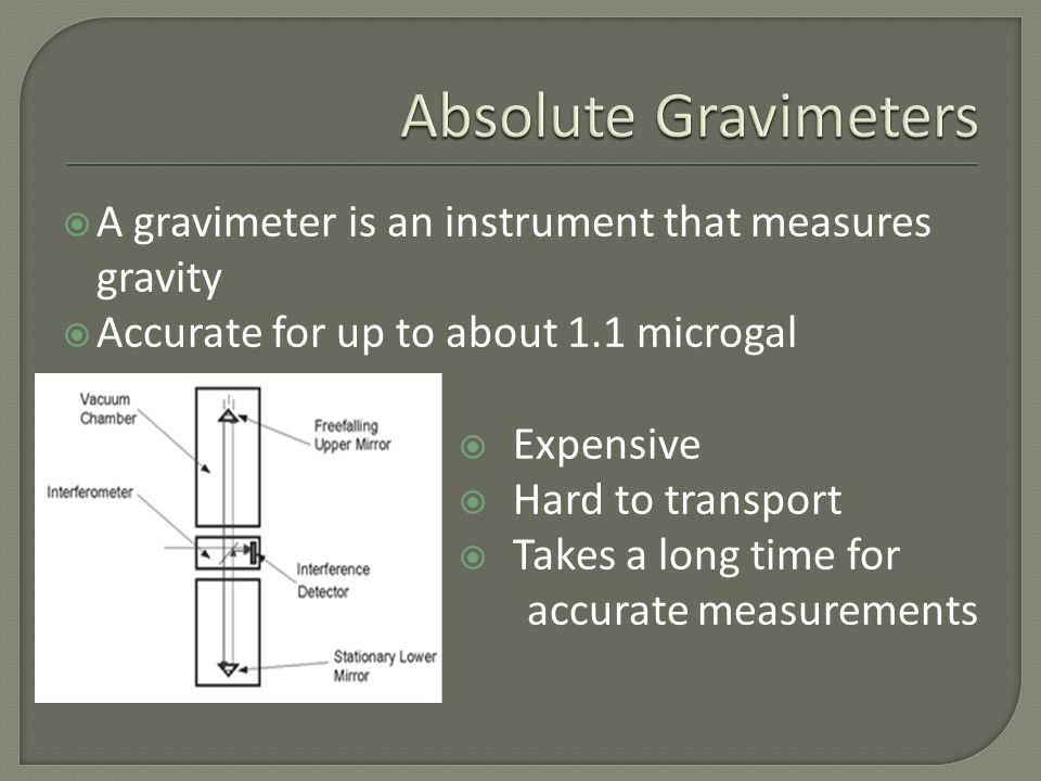  Invented by Lucien LaCoste Zero-length spring  Previous experiments have used a variety of relative gravimeter types: GWR T020 GRACE Geosat DUCKY Ia