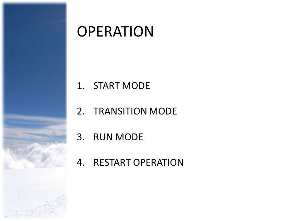 OPERATION 1.START MODE 2.TRANSITION MODE 3.RUN MODE 4.RESTART OPERATION