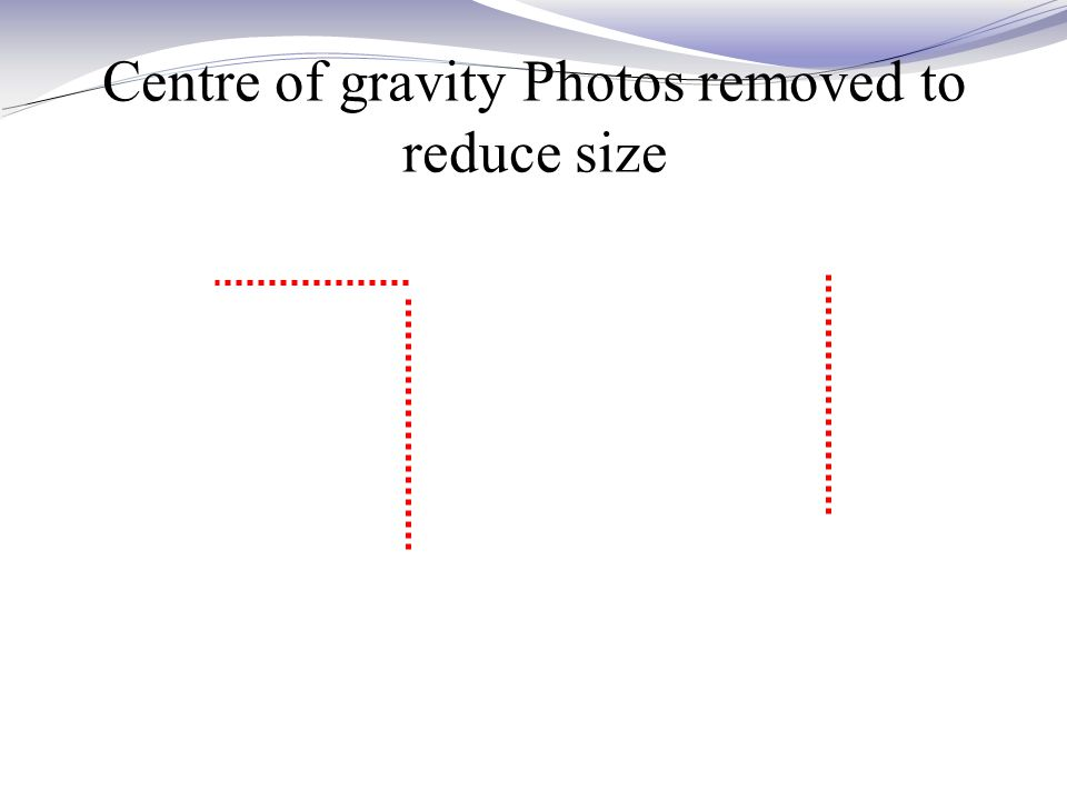 Centre of gravity Photos removed to reduce size
