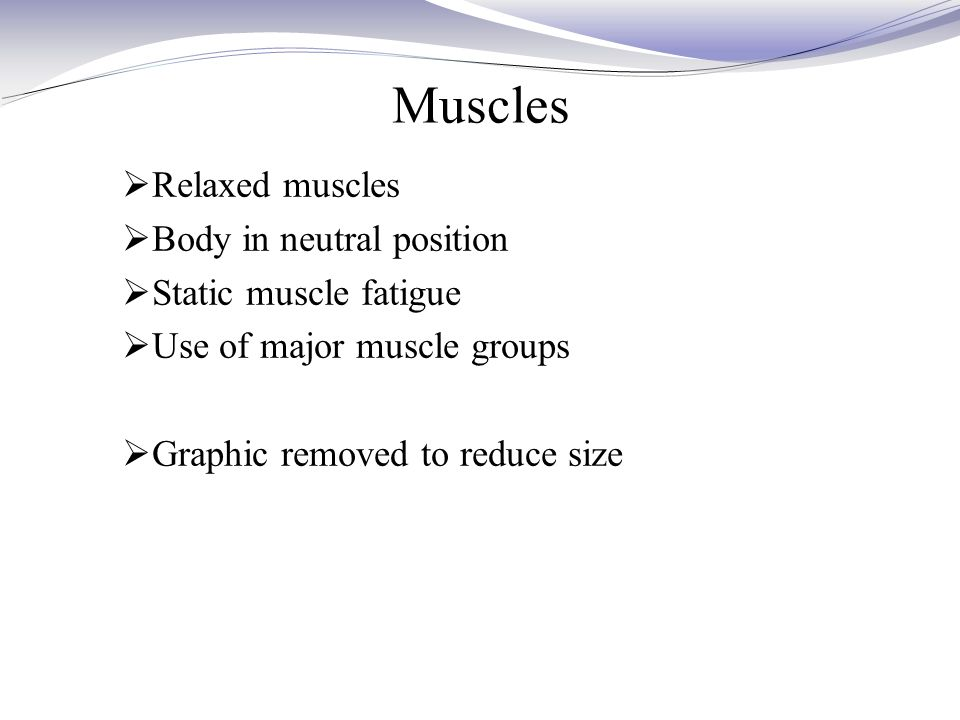 Muscles  Relaxed muscles  Body in neutral position  Static muscle fatigue  Use of major muscle groups  Graphic removed to reduce size