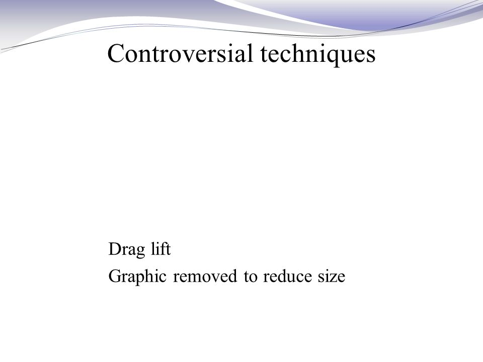 Controversial techniques Drag lift Graphic removed to reduce size
