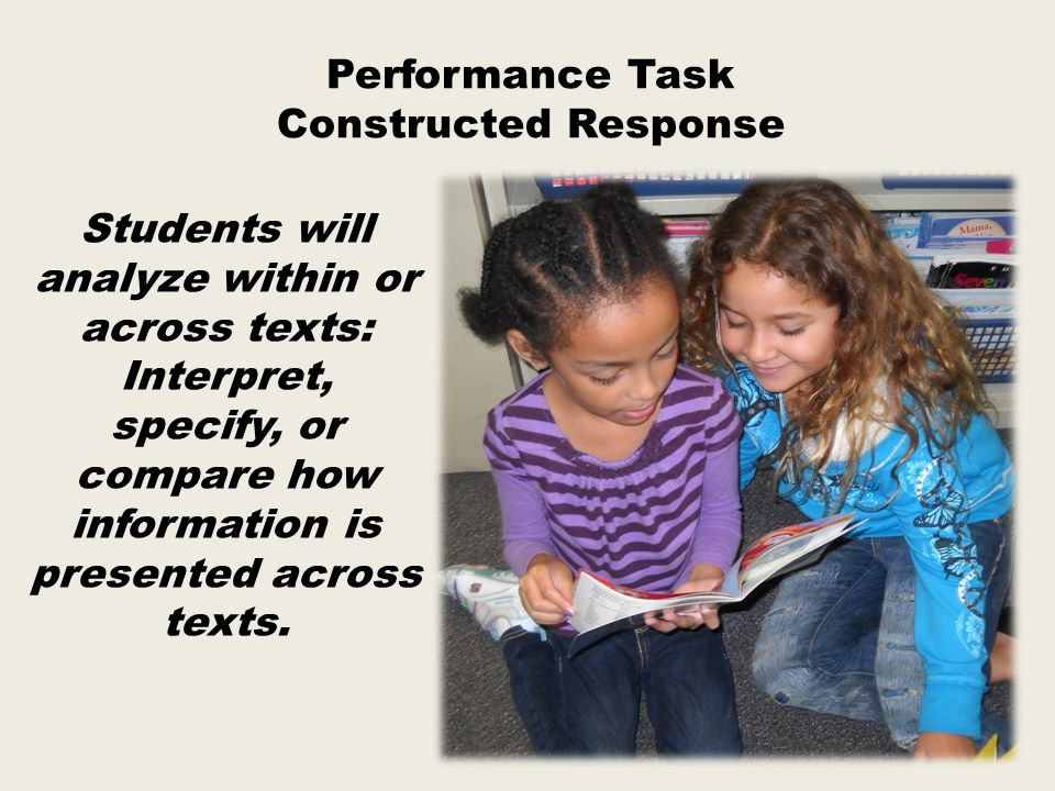 Students will analyze within or across texts: Interpret, specify, or compare how information is presented across texts.