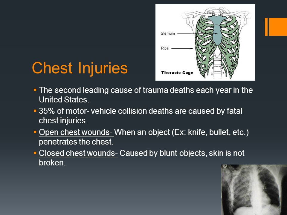 Signals of Chest Injuries  Trouble breathing  No breathing  Severe pain at the site of the injury  Flushed, pale or bluish skin  Obvious deformity caused by the injury  Coughing up blood  Bruising from a blunt injury  A 'sucking' or other sound made when person breathes.