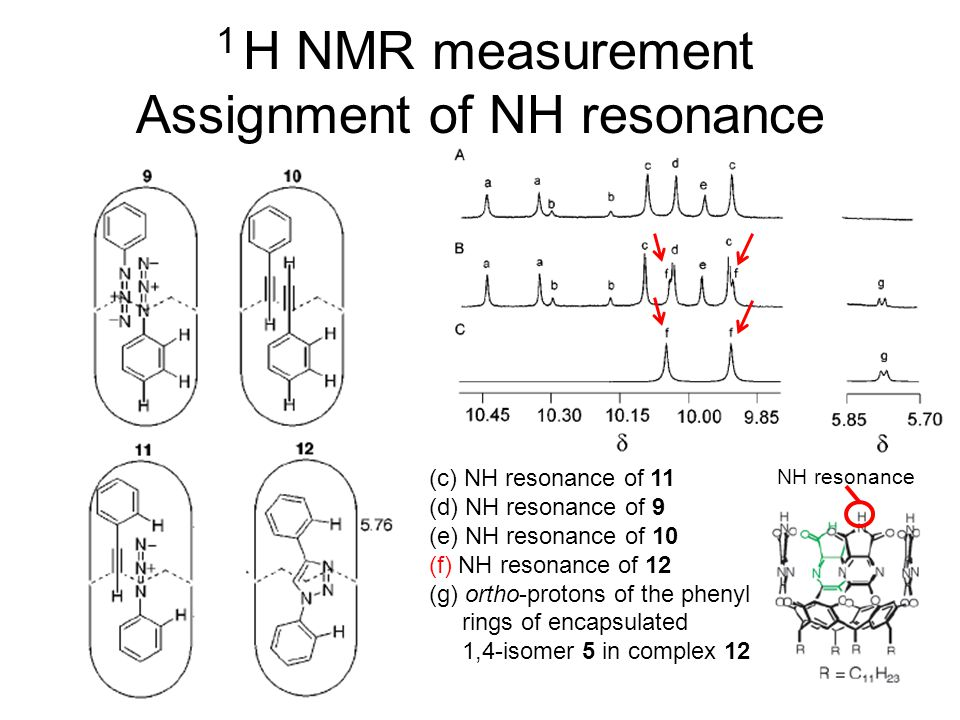 NH resonance 1 H NMR measurement Assignment of NH resonance (c) NH resonance of 11 (d) NH resonance of 9 (e) NH resonance of 10 (f) NH resonance of 12 (g) ortho-protons of the phenyl rings of encapsulated 1,4-isomer 5 in complex 12