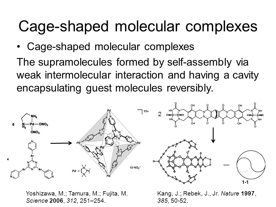 Cage-shaped molecular complexes The supramolecules formed by self-assembly via weak intermolecular interaction and having a cavity encapsulating guest