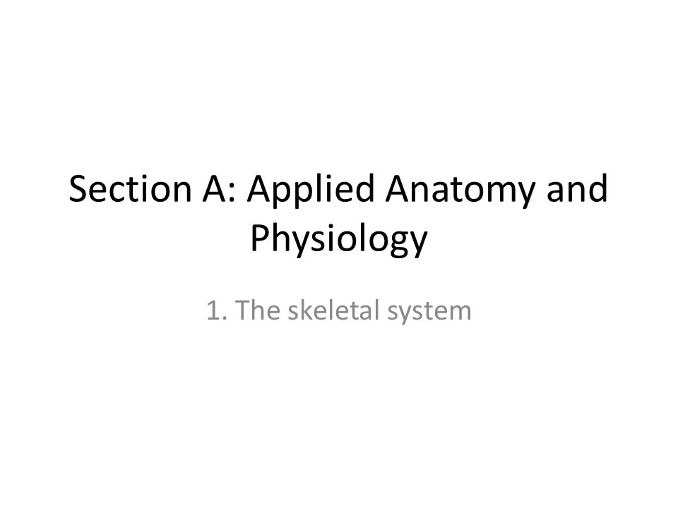 Section A: Applied Anatomy and Physiology 1. The skeletal system