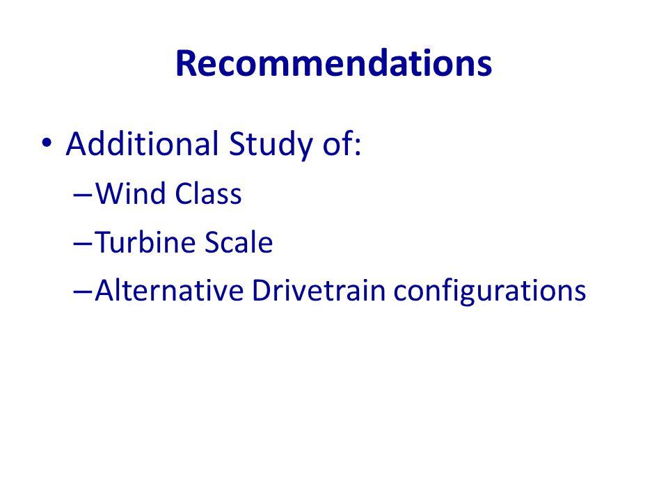 Recommendations Additional Study of: – Wind Class – Turbine Scale – Alternative Drivetrain configurations