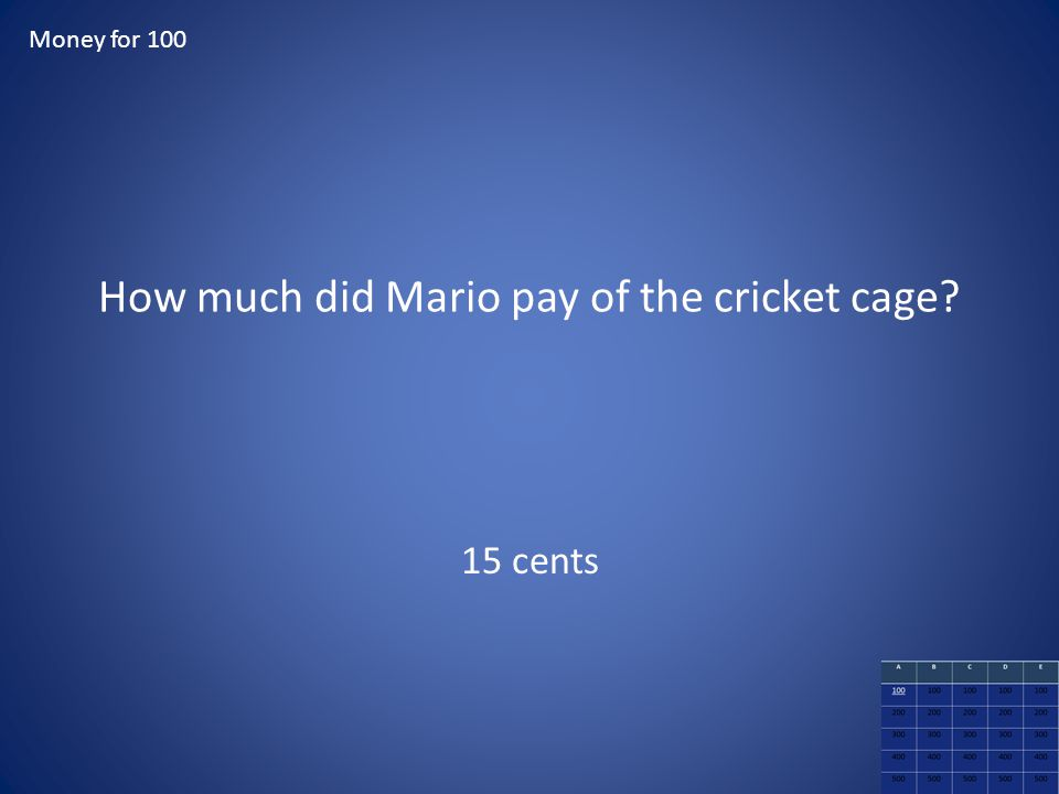 How much did Mario pay of the cricket cage? 15 cents Money for 100
