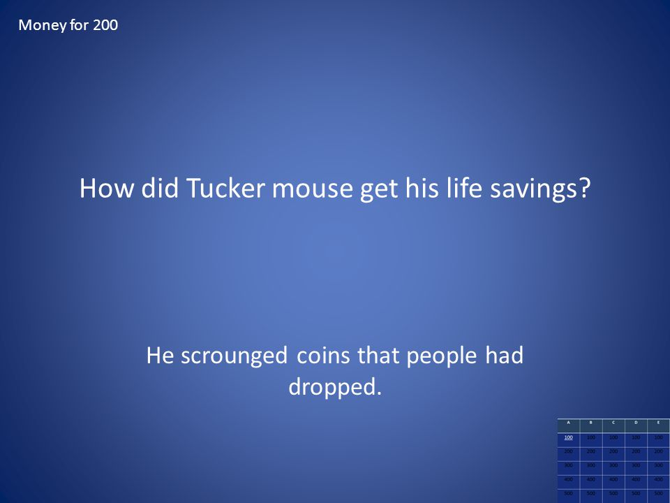 How did Tucker mouse get his life savings? He scrounged coins that people had dropped. Money for 200