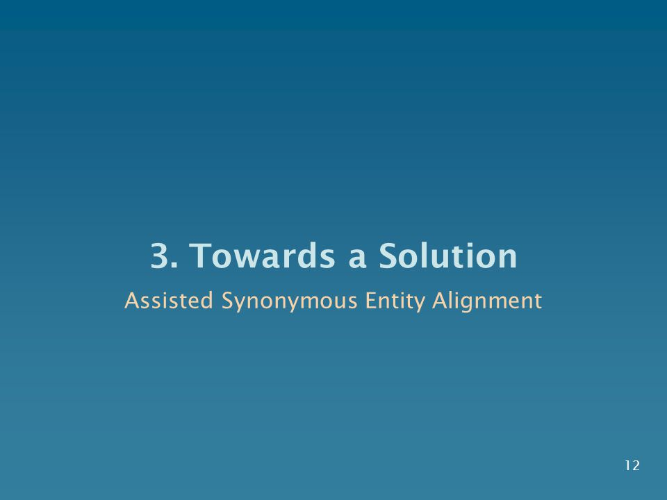 3. Towards a Solution 12 Assisted Synonymous Entity Alignment