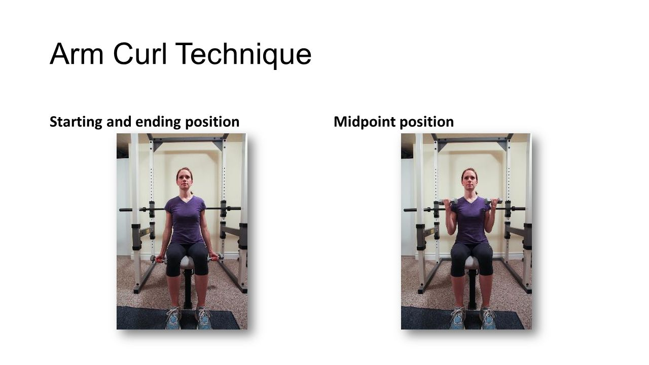 Arm Curl Technique Starting and ending positionMidpoint position