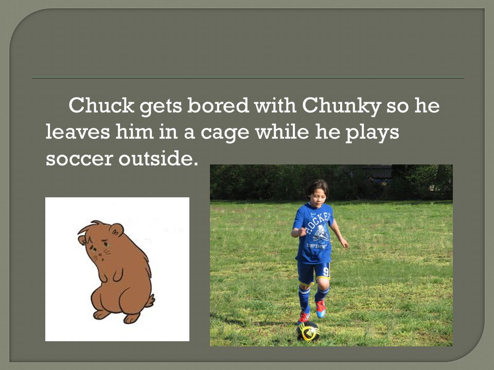 Chuck gets bored with Chunky so he leaves him in a cage while he plays soccer outside.