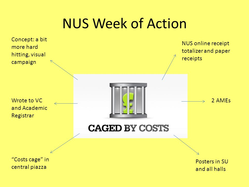 NUS Week of Action Concept: a bit more hard hitting, visual campaign NUS online receipt totalizer and paper receipts Costs cage in central piazza Posters in SU and all halls Wrote to VC and Academic Registrar 2 AMEs