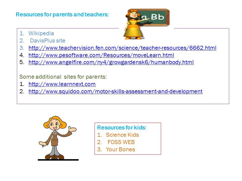 Resources for parents and teachers: 1.Wikipedia 2. DavisPlus site 3.http://www.teachervision.fen.com/science/teacher-resources/6662.htmlhttp://www.tea