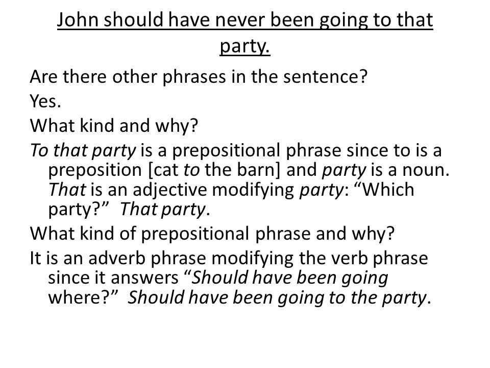 John should have never been going to that party. Are there other phrases in the sentence.
