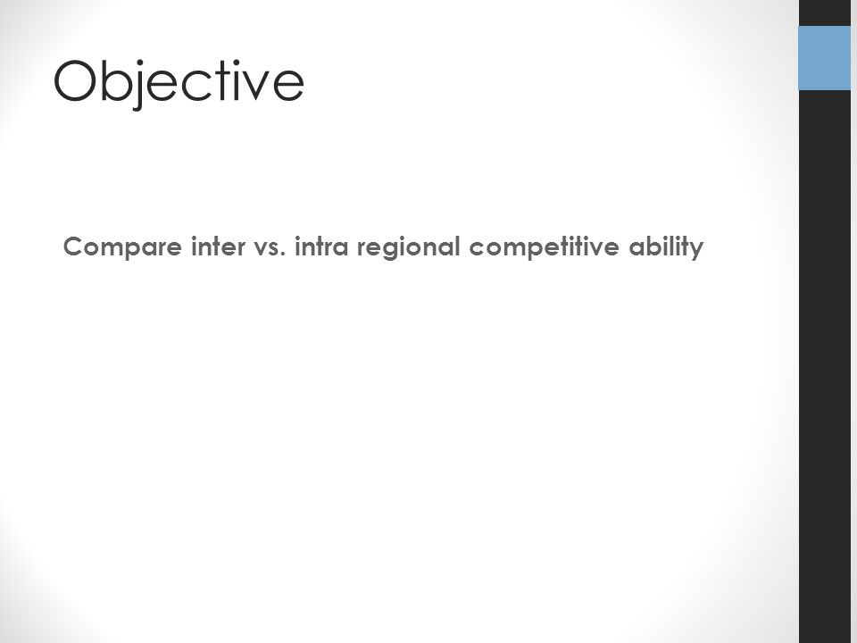 Objective Compare inter vs. intra regional competitive ability